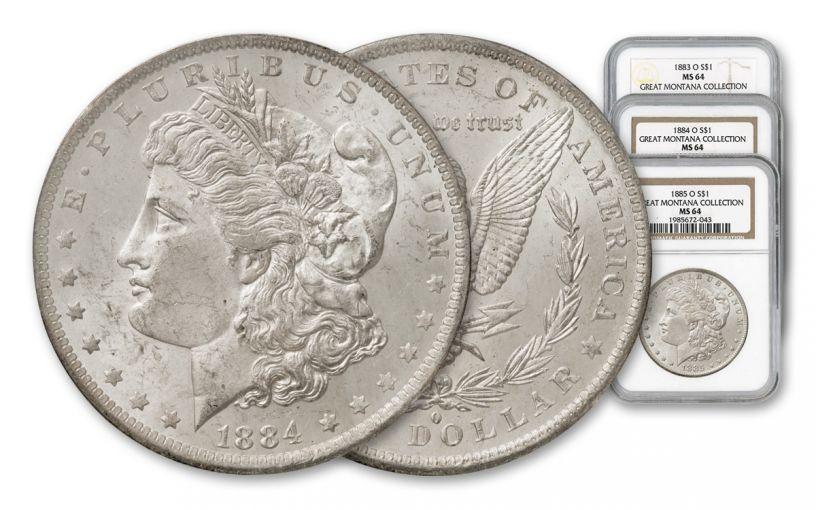 1883-1885-O Morgan Silver Dollar NGC MS64 - Great Montana Collection 3 Piece Set