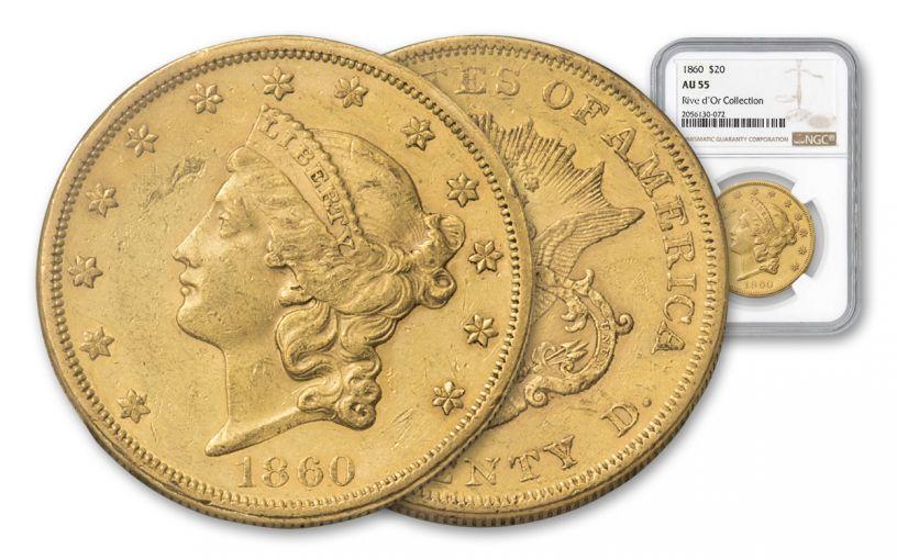 1860-P 20 Dollar Liberty NGC AU55 Rive D'OR