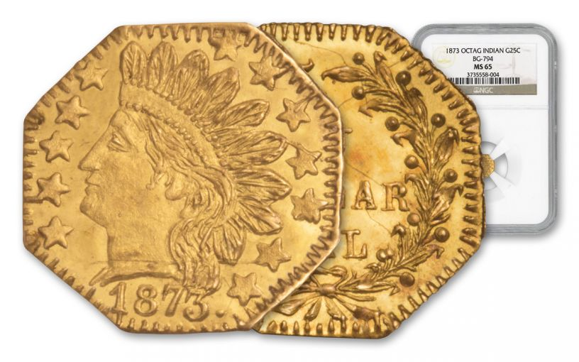 1873 25 Cent Gold Octagonal Indian Head NGC MS65