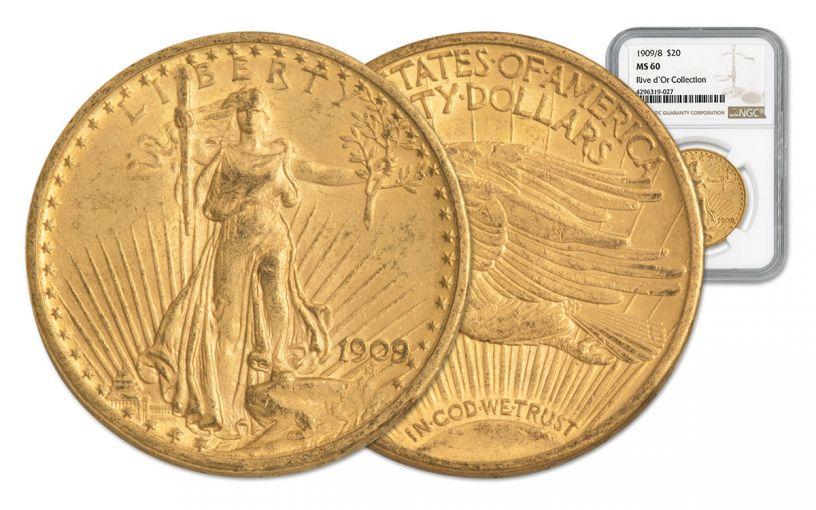 1909/8-P 20 Dollar Gold Saint Gaudens NGC MS60 Rive d'Or