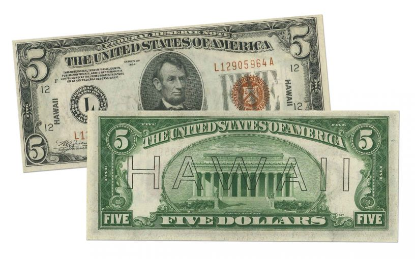 "1934 U.S. 5 Dollar Federal Reserve Notes ""Hawaii"" Mule PCGS 63PPQ"