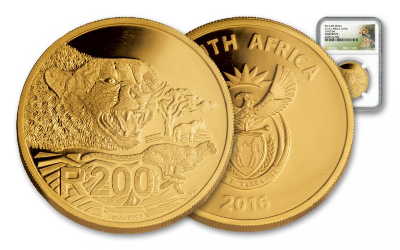 2016 South Africa 1-oz Gold Cheetah NGC- Gem Proof