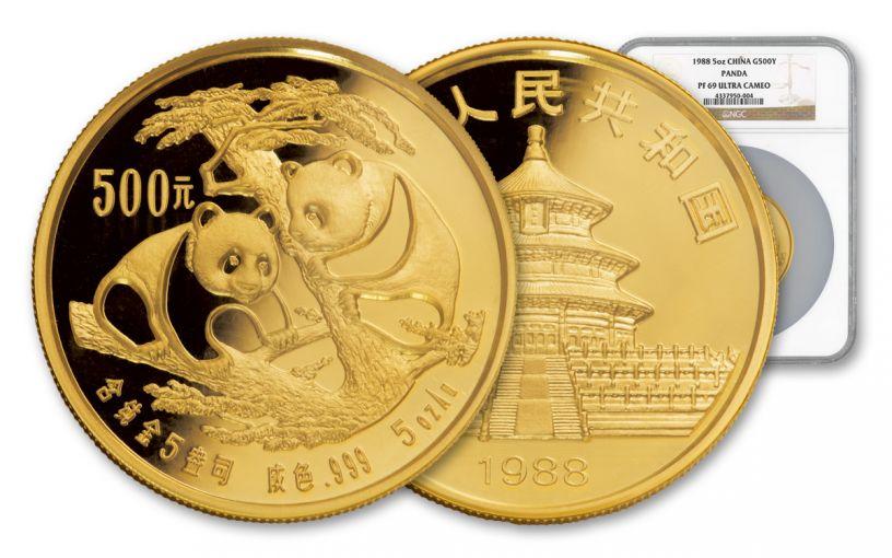 1988 China 5-oz Gold Panda NGC PF69 UCAM