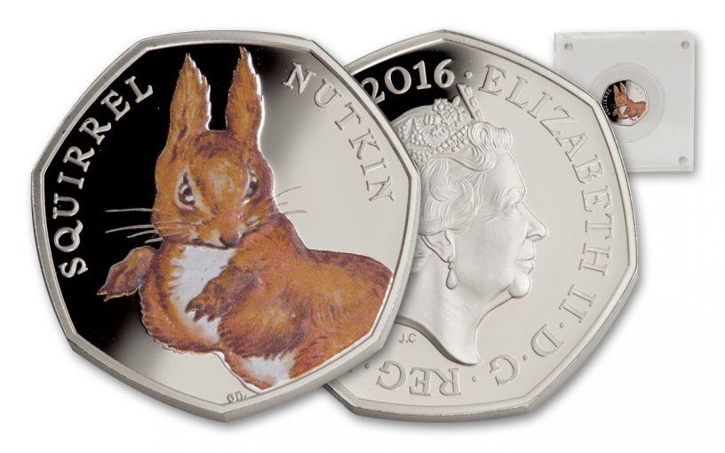 2016 Great Britain 50 Pence 1-oz Silver Nutkin Squirrel Proof