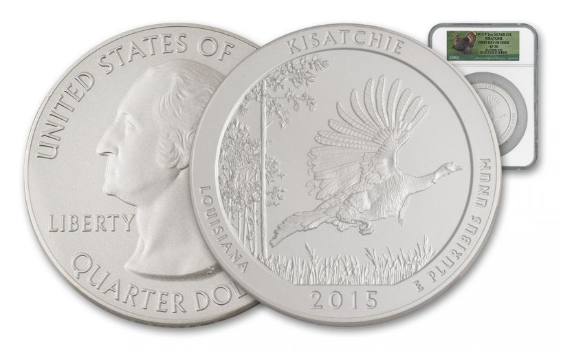 2015 25 Cent 5-oz Silver America the Beautiful Kisatchie NGC SP70 FDI