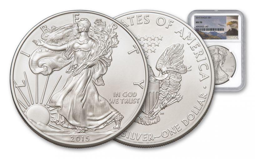 2015 1 Dollar 1-oz Silver Eagle NGC/PCGS MS70