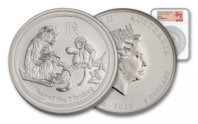 2016 Australia 8 Dollar 5-oz Silver Lunar Monkey NGC MS69