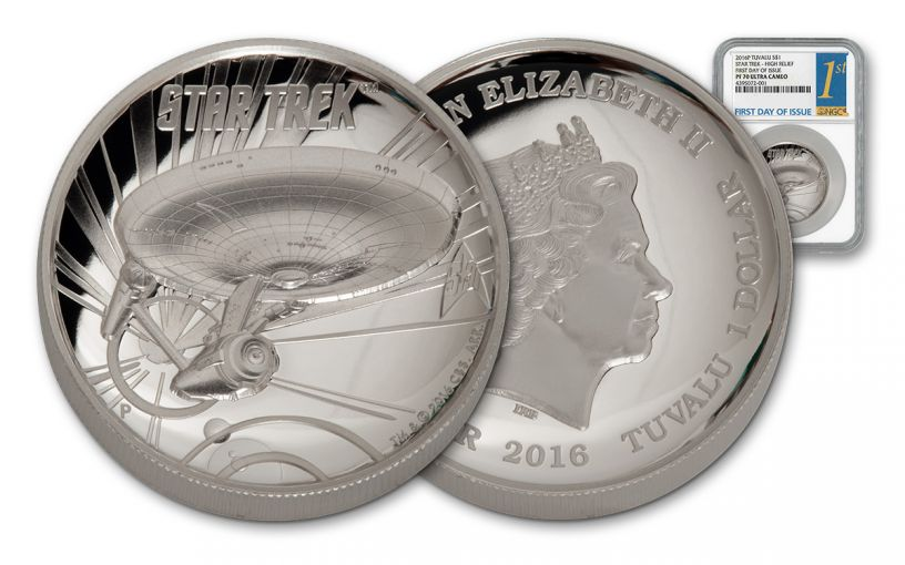 2016 Tuvalu 1-oz Silver Star Trek Enterprise High Relief NGC PF70 First Day of Issue