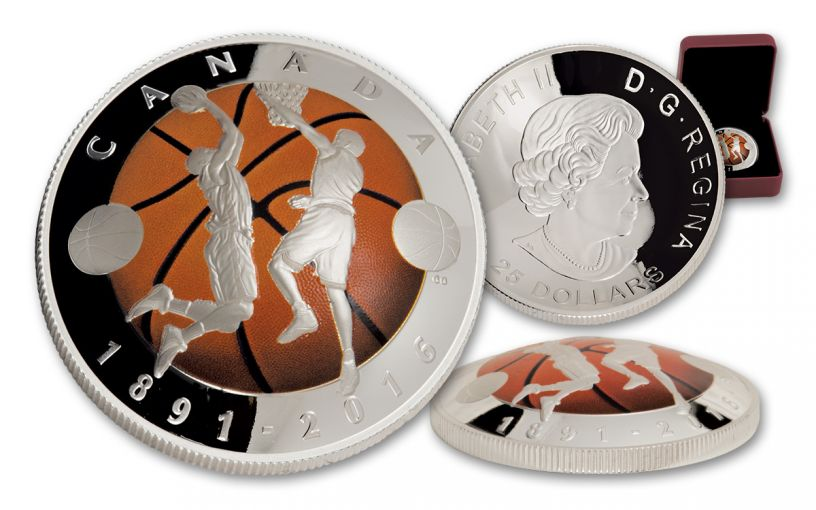 2016 Canada 25 Dollar 1-oz Silver Basketball Convex Shaped Proof
