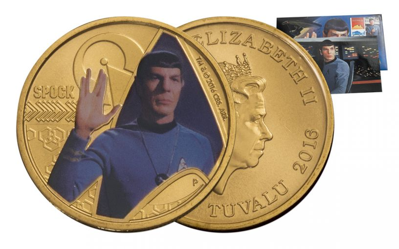 2016 Tuvalu 1 Dollar Bronze Star Trek Spock Stamp and Coin Brilliant Uncirculated