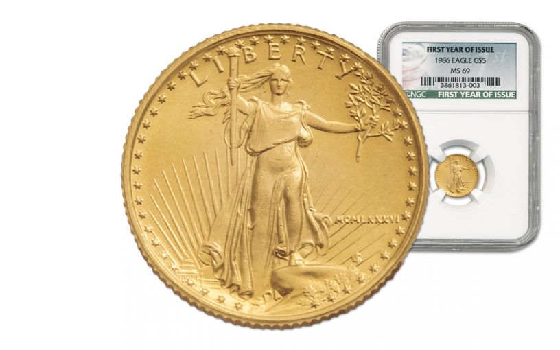 1986 5 Dollar 1/10-oz Gold Eagle NGC MS69