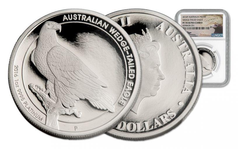 2016 Australia 100 Dollar 1-oz Platinum Wedge-Tailed Eagle NGC PF70UCAM Mercanti Signed