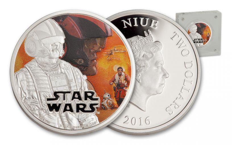 2016 Niue 2 Dollar 1-oz Silver Star Wars Poe Dameron Proof
