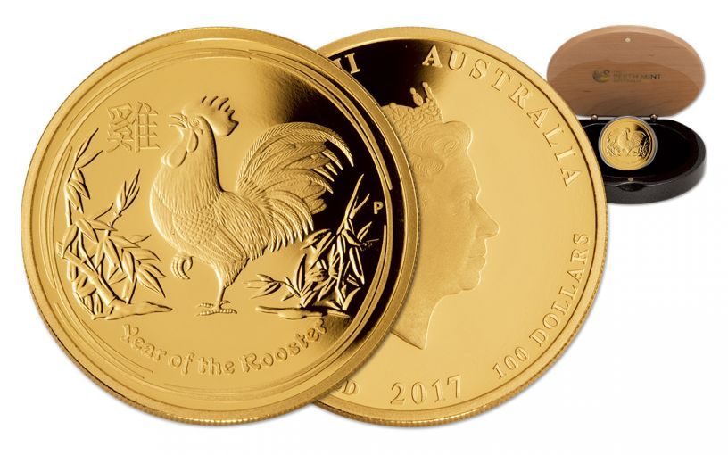 2017 Australia 100 Dollar 1-oz Gold Year of the Rooster Proof