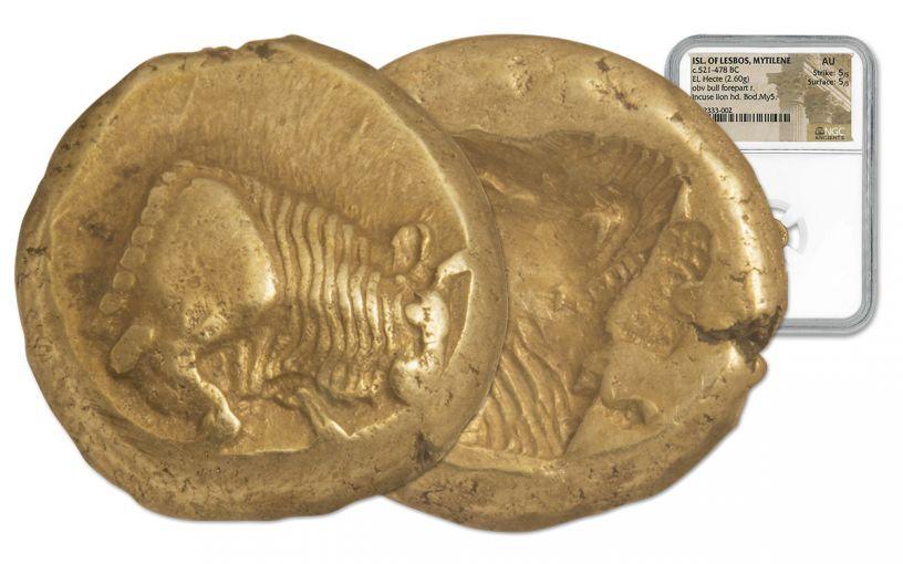 521-478 BC Isle of Lesbos Gold Electrum Hekte NGC AU