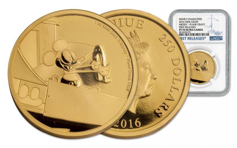 2016 Niue 250 Dollar 1-oz Gold Mickey Plan Crazy NGC PF70UCAM