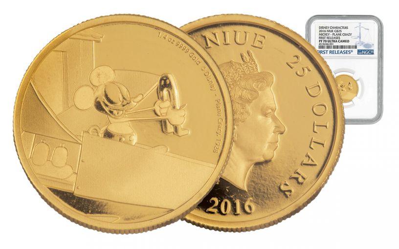 2016 Niue 1/4-oz Gold Mickey Plane Crazy NGC PF70UCAM