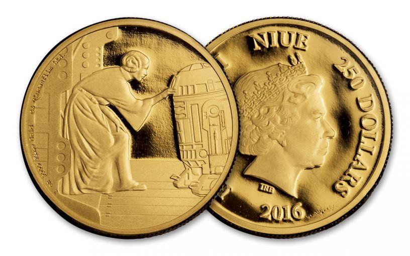 2016 Niue 250 Dollar 1-oz Gold Star Wars Leia Proof