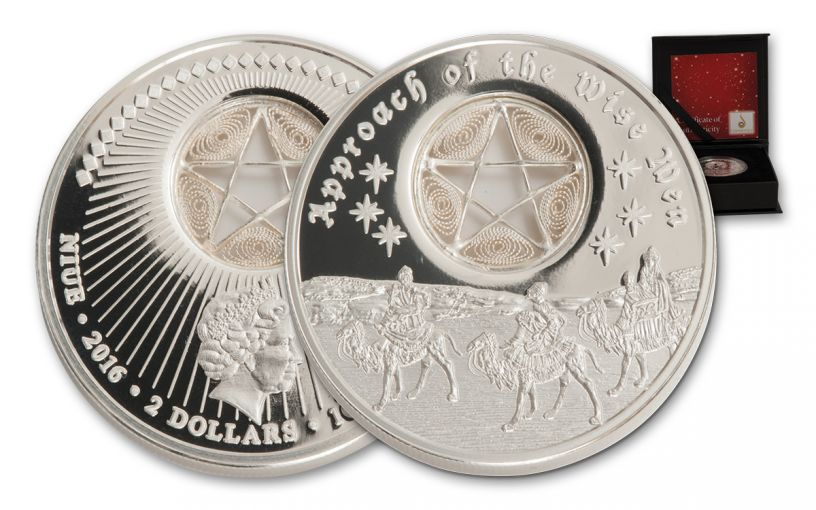 2016 Niue 2 Dollar 1-oz Silver Approach of the Wise Men Proof