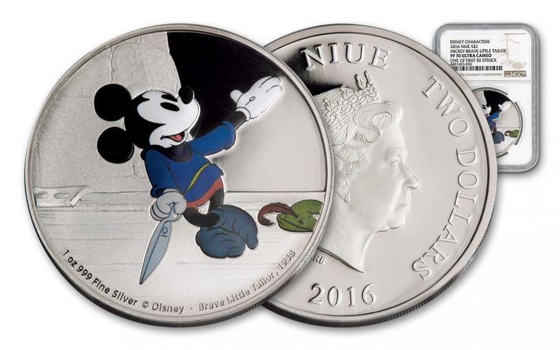 2016 Niue 2 Dollar 1-oz Silver Mickey Brave Little Tailor NGC PF70UCAM