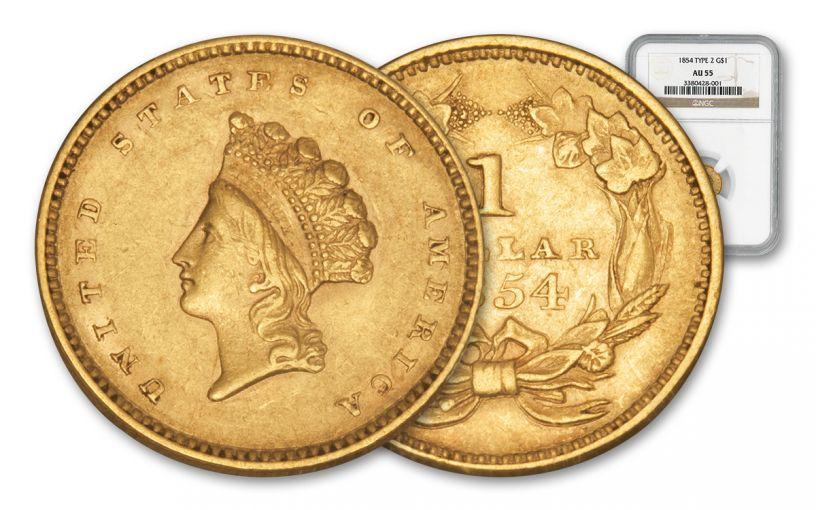 1854-1856 1 Dollar Gold Indian Princess Type 2 NGC/PCGS AU55