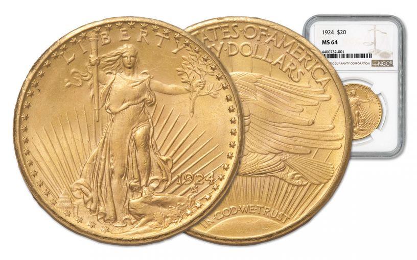 1924 20 Dollar Gold Saint Gaudens NGC MS64 w/Motto