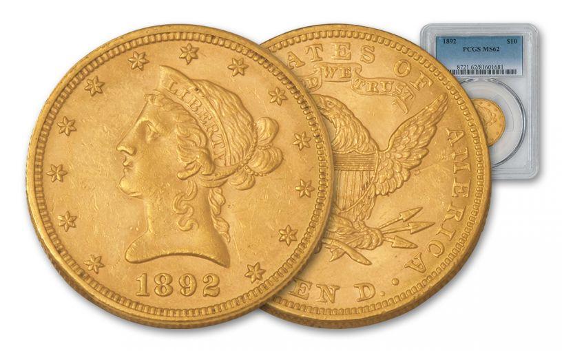 1892 10 Dollar Gold Liberty PCGS MS62 w/Motto