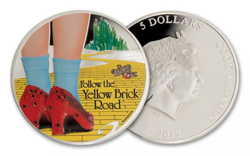 2017 Cook Islands $5 1-oz Silver Wizard of Oz™ Yellow Brick Road Proof