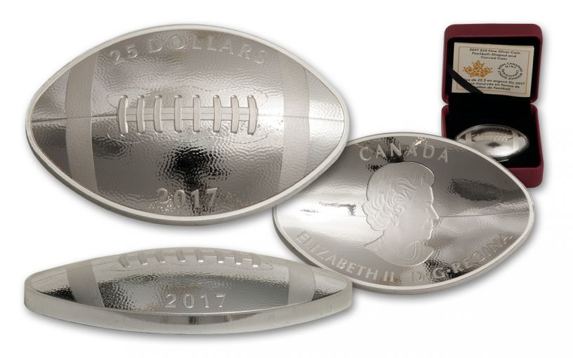 2017 Canada $25 1-oz Silver Football-Shaped Curved Proof