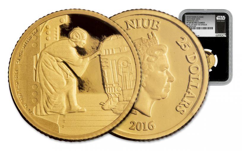 2016 Niue 25 Dollar 1/4-oz Gold Star Wars Princess Leia NGC PF69UCAM First Strike