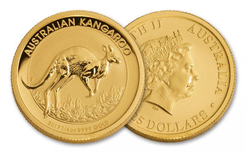 2017 Australia 25 Dollar 1/4-oz Gold Kangaroo BU