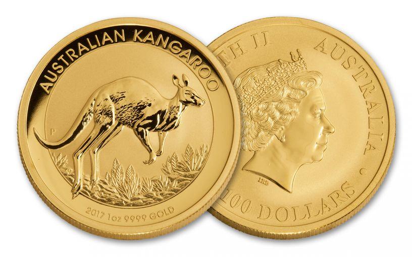 2017 Australia 100 Dollar 1-oz Gold Kangaroo BU