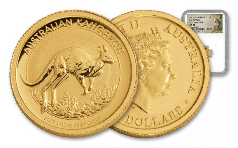 2017 Australia 15 Dollar 1/10-oz Gold Kangaroo NGC MS70 First Release