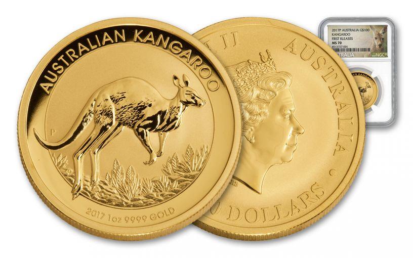 2017 Australia 100 Dollar 1-oz Gold Kangaroo NGC MS70 First Release