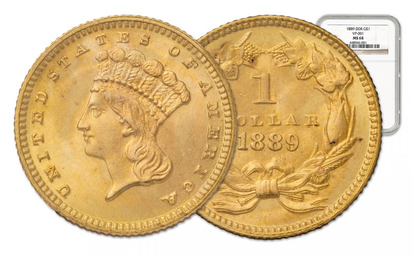 1889-P 1 Dollar Gold Indian Type III NGC MS68 Doubled Die Reverse