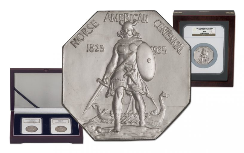 1925-P Norse-American Centennial Silver Medals NGC MS64 3 Pc Set