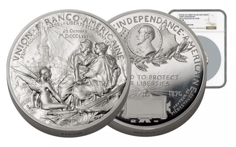 France 5-oz Silver Statue of Liberty Medal NGC MS70