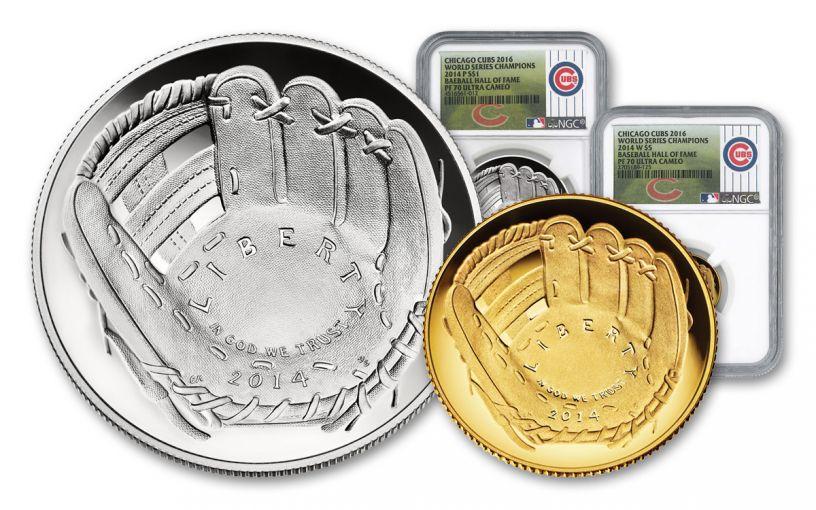 2014 Baseball Hall Of Fame NGC PF70UCAM Cubs World Champions 2pc Set