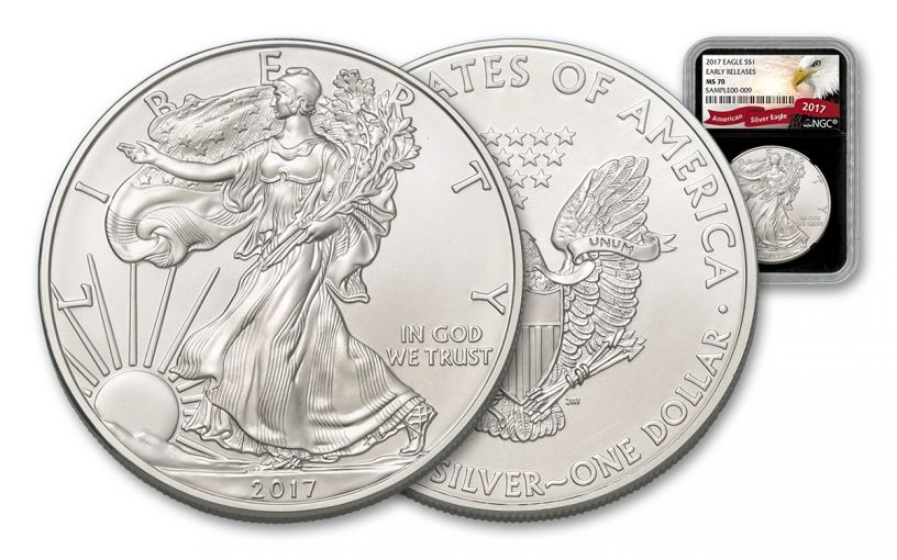 2017 1 Dollar 1-oz Silver Eagle NGC MS70 Early Release - Black