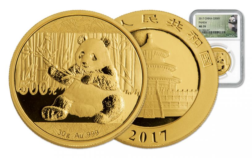 2017 China 30-Gram Gold Panda NGC MS70