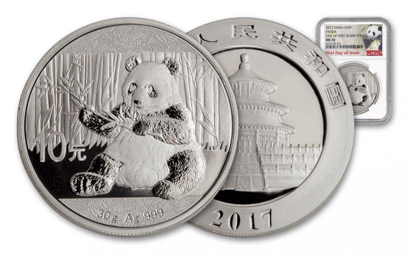 2017 China 30-Gram Silver Panda NGC MS70 FDI