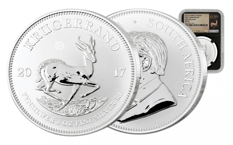 2017 South Africa Silver Krugerrand NGC SP70 First Releases - Black