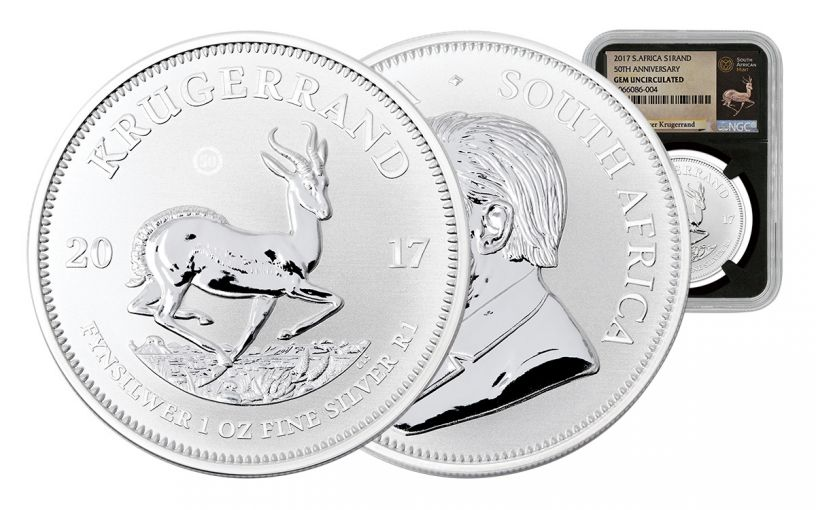 2017 South Africa Silver Krugerrand NGC Gem Uncirculated- Black
