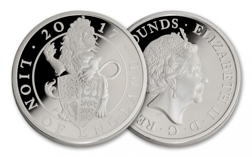 2017 Great Britain 2 Pound 1-oz Silver Queen's Beasts The Lion Proof