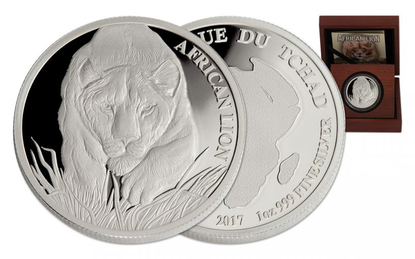2017 Chad 5000 Franc 1-oz Silver Lion Proof