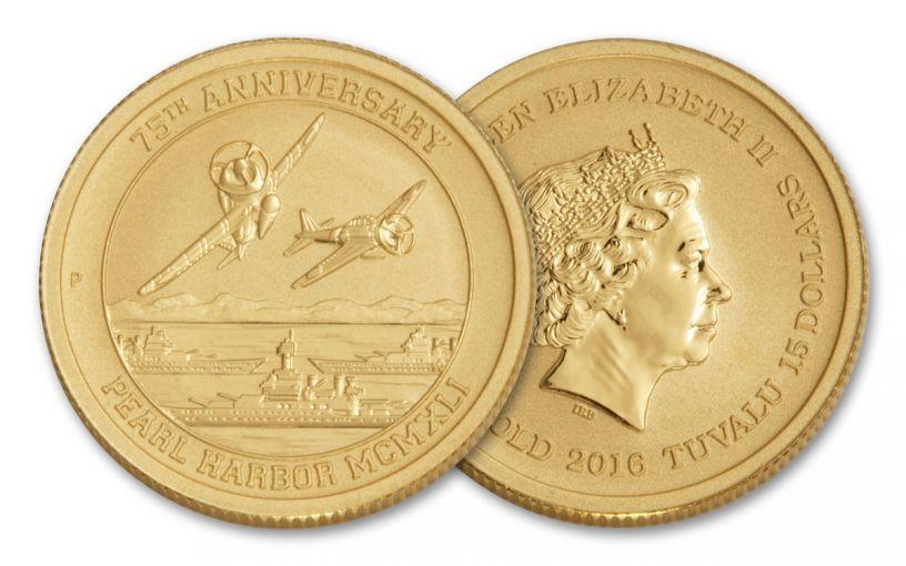 2016 Tuvalu 15 Dollar 1/10-oz Gold 75th Anniversary of Pearl Harbor BU