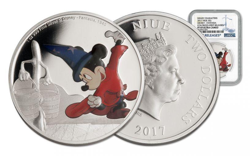 2017 Niue 2 Dollar 1-oz Silver Disney Mickey Fantasia NGC PF69UCAM First Releases