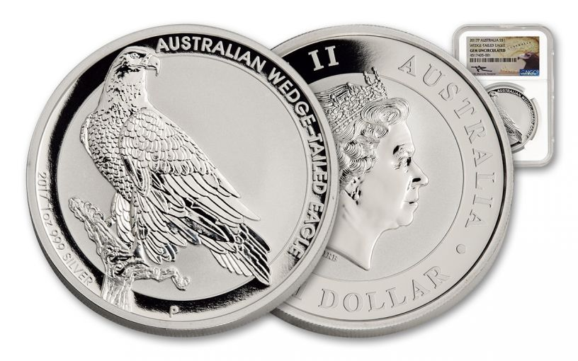 2017 Australia 1 Dollar 1-oz Silver Wedge-Tailed Eagle NGC Gem Uncirculated Mercanti Signed