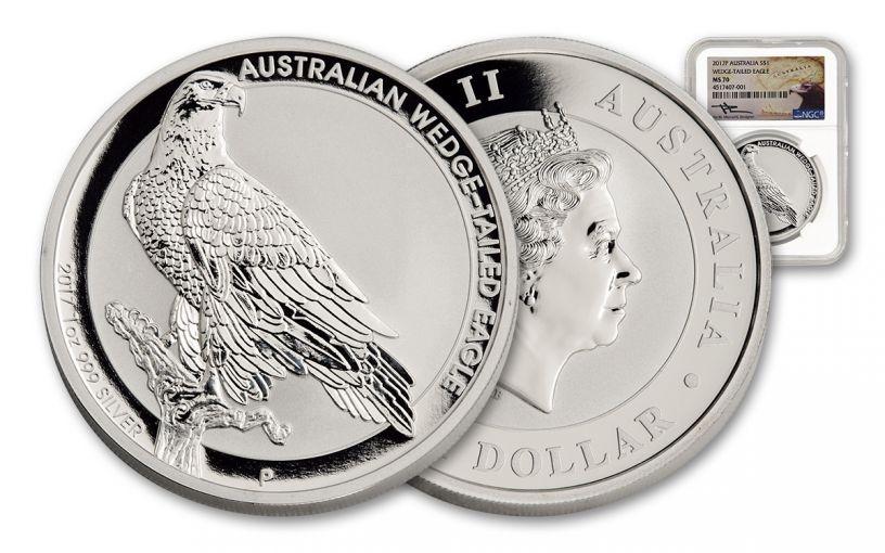 2017 Australia 1 Dollar 1-oz Silver Wedge-Tailed Eagle NGC MS70 Mercanti Signed
