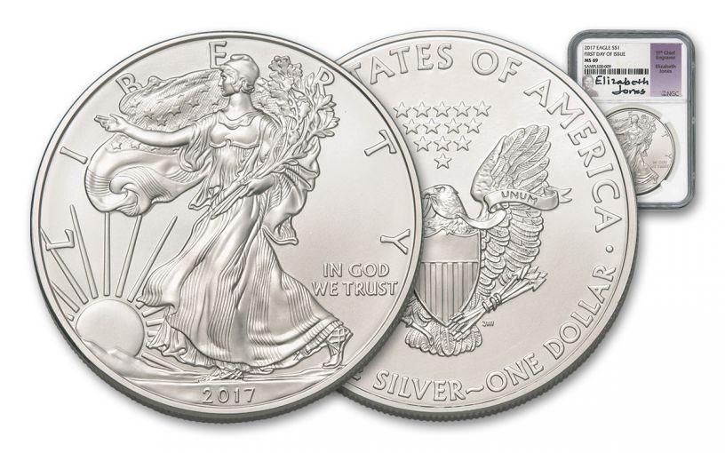 2017 1 Dollar 1-oz Silver Eagle NGC MS69 Jones Signed